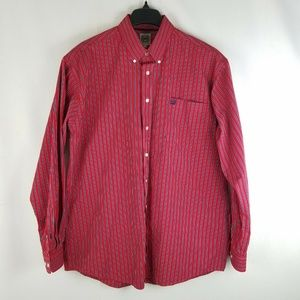 Cinch Mens Button Down L\S Striped Red Western